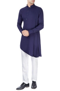 Navy blue kurta in one-side drape design