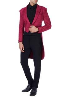 Maroon scuba tailcoat jacket