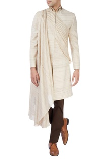 Beige sherwani set with draped kurta