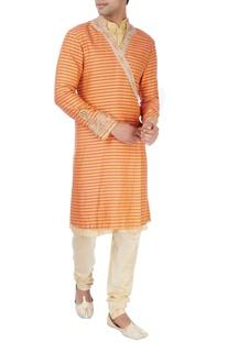 Gold sherwani set in wrap style
