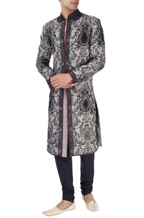 Blue & gray sherwani set