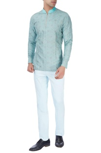 Mint blue kurti with sky blue trousers