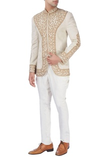Beige bandhgala jacket with gold embroidery