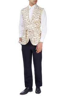 White & gold disco jacket with white shirt