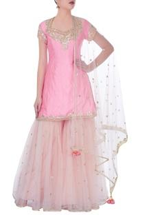Light pink kurta with sharara pants