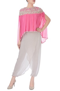 Pink & grey top with wrap style pants