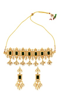 Gold plated earrings & necklace set