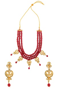 Berry red & white bead cord necklace set