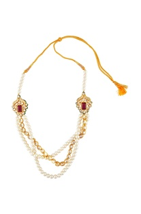 White & red multiple chain necklace