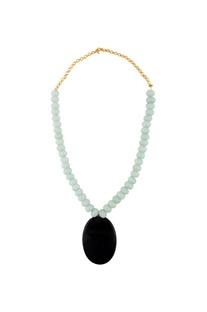 Mint green & black statement necklace