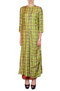 Lime green & orange salwar suit