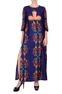 Deep blue printed maxi dress