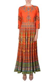 Orange printed kalidar kurta