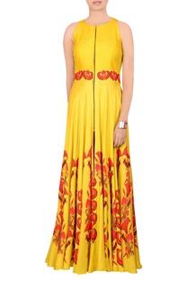 Yellow printed jacket maxi dress