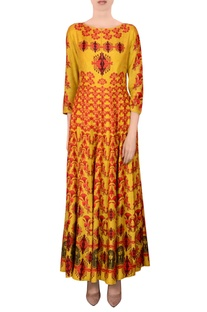 Yellow printed kalidar kurta