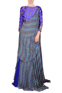 Royal blue maxi dress with drape