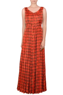 Orange gathered maxi dress