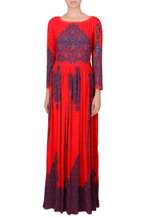 Red gathered maxi dress