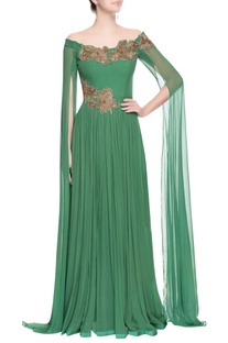 Green off-shoulder gown
