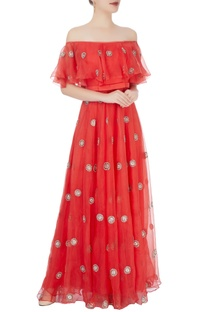 Red off-shoulder maxi with embroidery