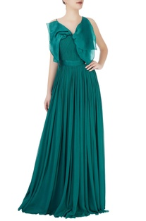 Teal blue gown with bow
