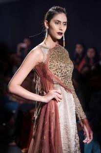 Gold toned gharara with jacket