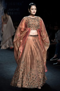 Taupe embroidered blouse with raw silk lehenga
