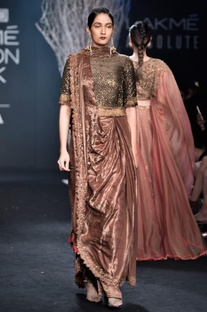 Brown sari gown with cutdana embroidered blouse