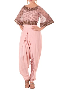 Rose pink kurta with draped dhoti pants