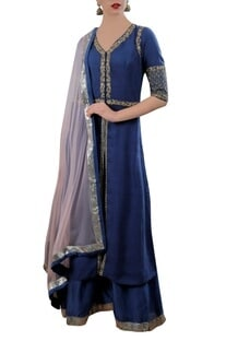 Blue dori work kurta with palazzos