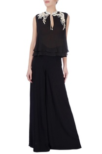 Black blouse with sequin and bead embellishments