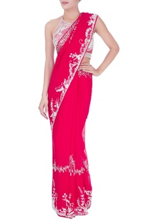 Red sequin embellished sari & halter blouse