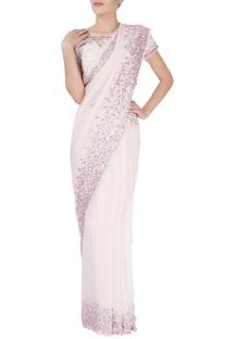 Blush pink sequin embellished sari