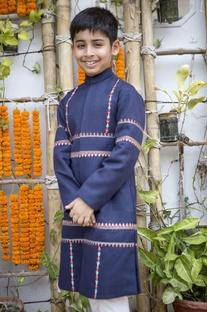 Inkblot blue sherwani & churidar