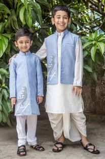 Scabiosa blue jacket & white dhoti set