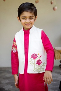 Pink kurta with churidar & jacket