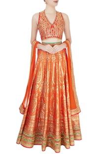 Red & orange embellished lehenga set
