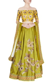Mustard yellow & mehendi green embellished lehenga set