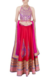 Purple & red embellished lehenga set