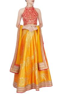 Red & mustard yellow embellished lehenga set
