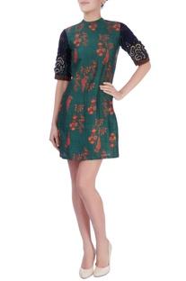 Green & blue printed short dress