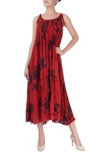 Red floral print midi dress.