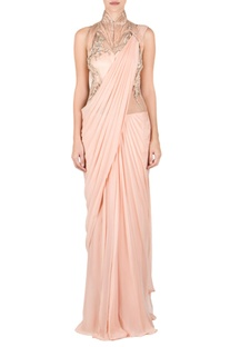 Peach high neck embellished sari gown