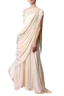 Peach off-shoulder sari gown