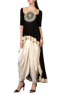 Black tunic with chakra applique
