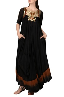 Black & brown shaded maxi dress