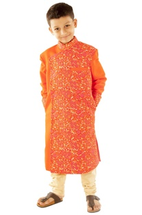 Orange floral embroidered sherwani