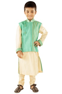 Cream kurta with sea green jacket & churidar
