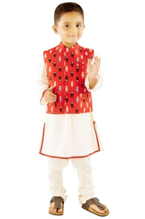White kurta & churidar with red robot jacket