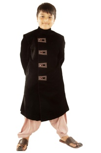 Black sherwani with patiala